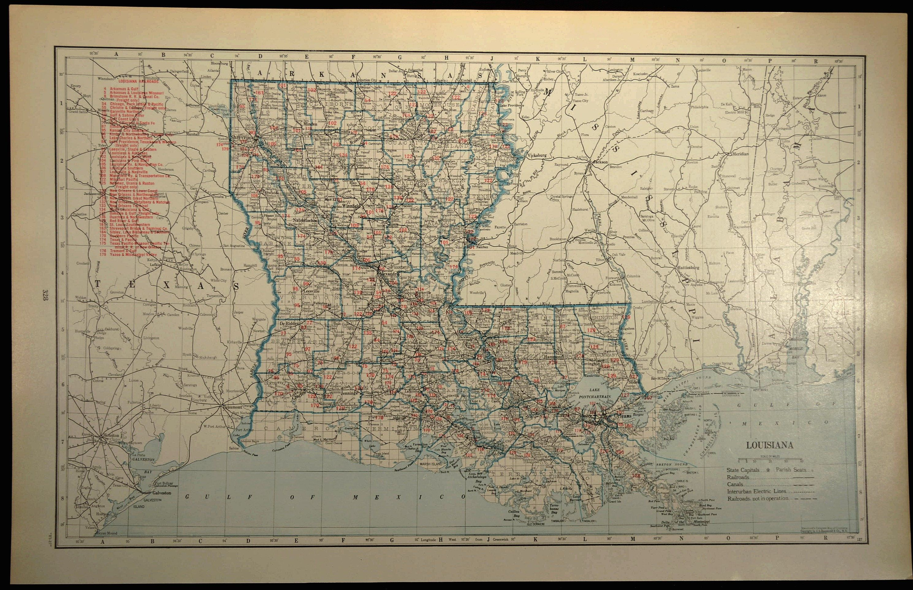 Louisiana Railroad Map LARGE Railroad Map Louisiana Wall Art Map
