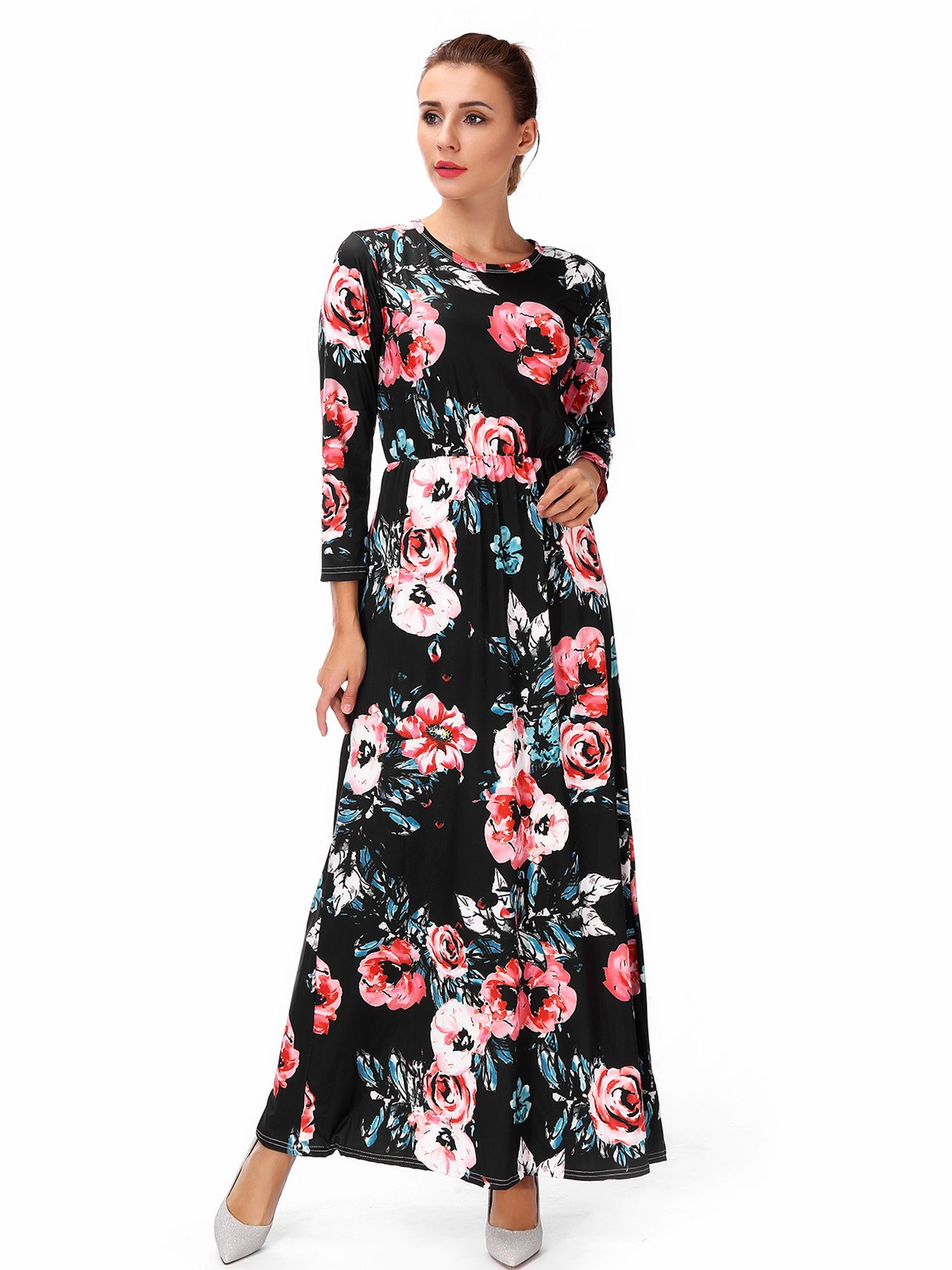 Lelinta Women S Maternity Hight Waistline Long Sleeve Maxi Dress Ink Painting Floral With Pocket Walmart Com Plus Size Maternity Dresses Maternity Long Dress Long Sleeve Dress [ 2000 x 1500 Pixel ]