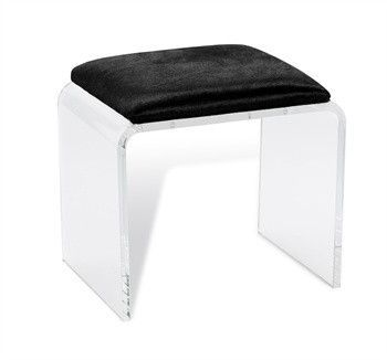 "Mira Black Hide Acrylic Stool design by Interlude Home Dimensions: 18""h x 20"" x 16"" Material: acrylic/ hide Finish: clear/ black With its rounded silhouette and black hide covered seat, the Mira Acryl"