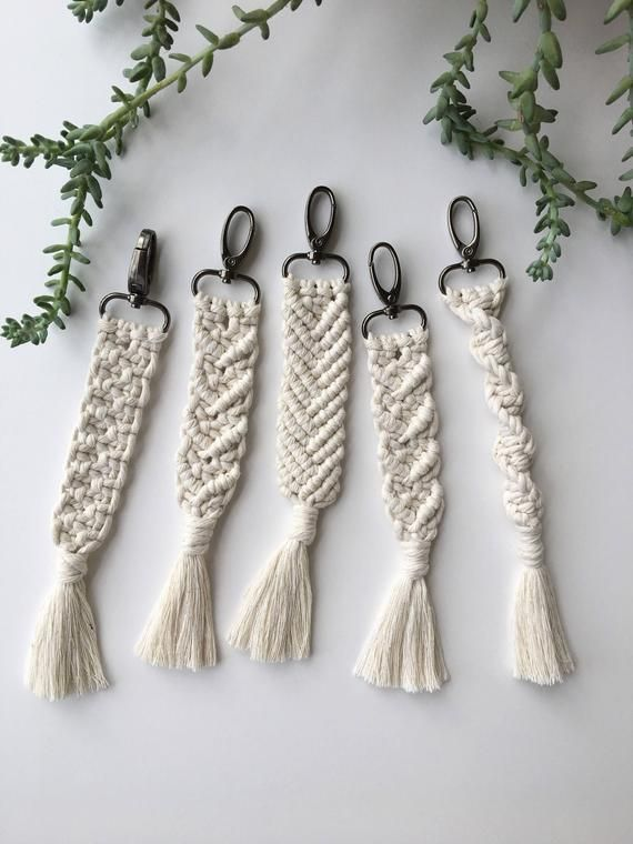 Handmade macrame keychain made with cotton rope on a metal swivel clasp. Different designs available. Clasp color options: bronze, gold and