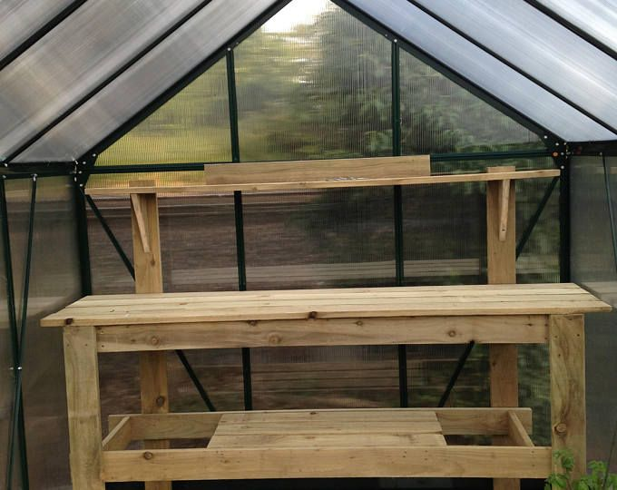 Local Delivery Only Small Weathered Potting Bench With Round Etsy In 2020 Home Greenhouse Greenhouse Homemade Greenhouse