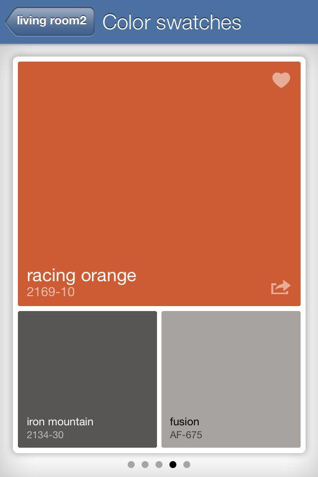 racing orange benjamin moore | upper living room inspiration