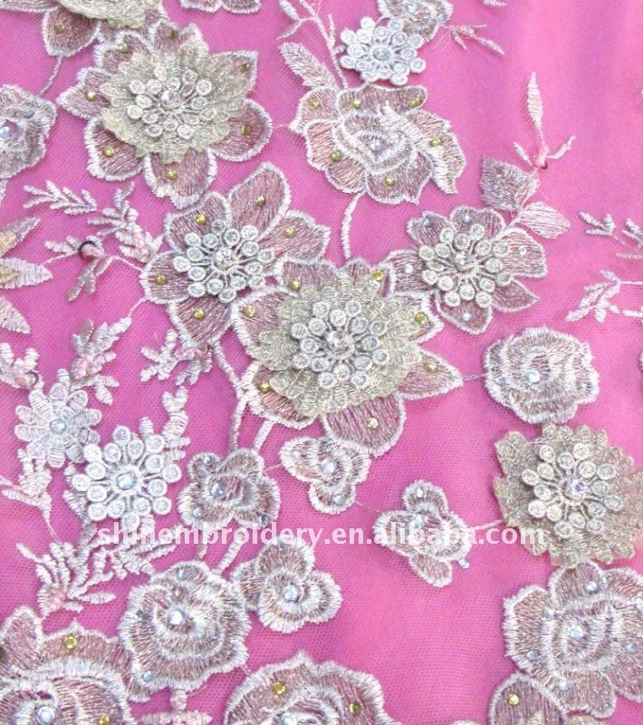 High Quality Tulle Embroidery Fabric With Beadsflower Applique