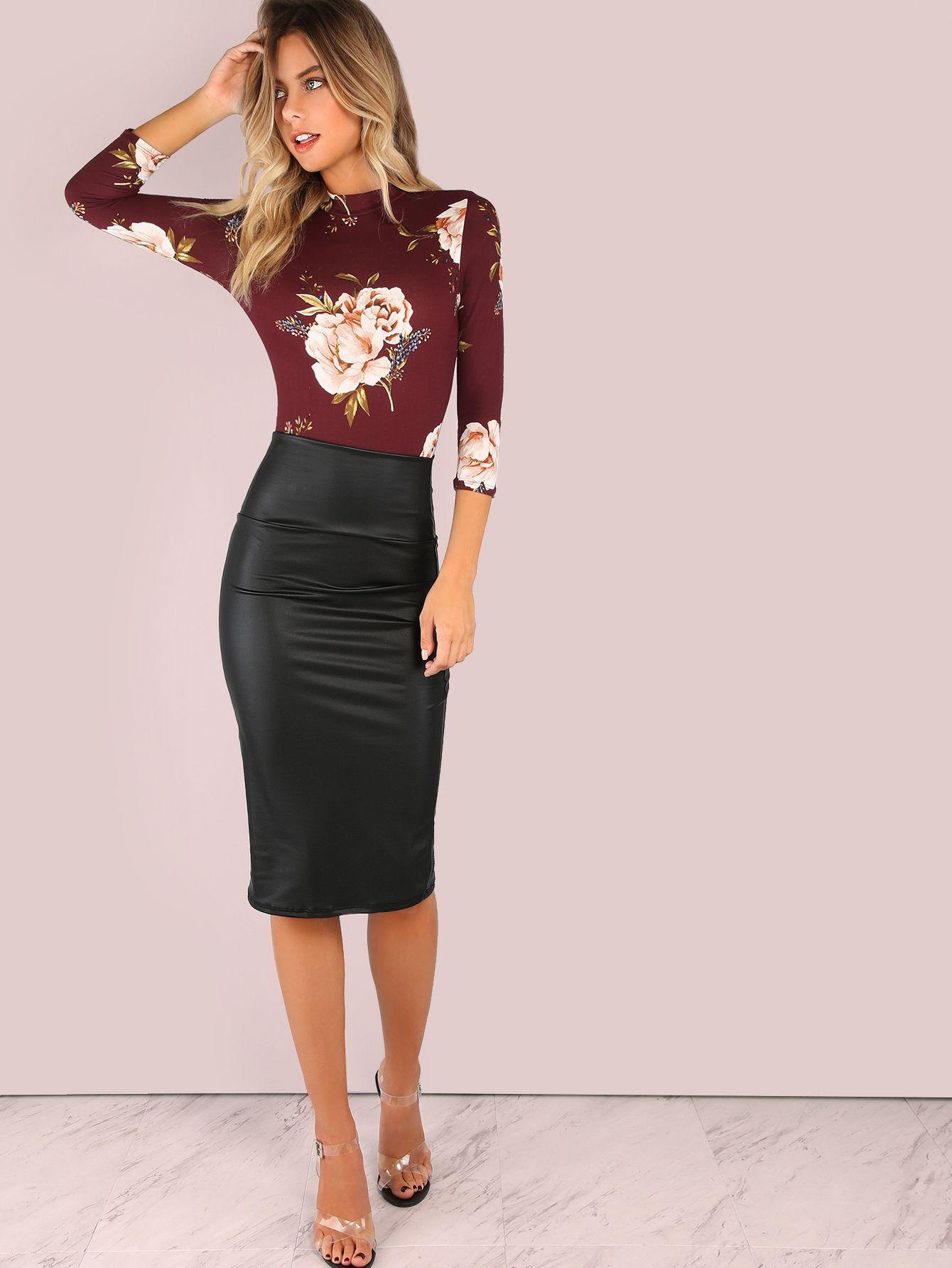 6cfa91e86 Shop Wide Waistband Coated Pencil Skirt BLACK online. SheIn offers Wide  Waistband Coated Pencil Skirt