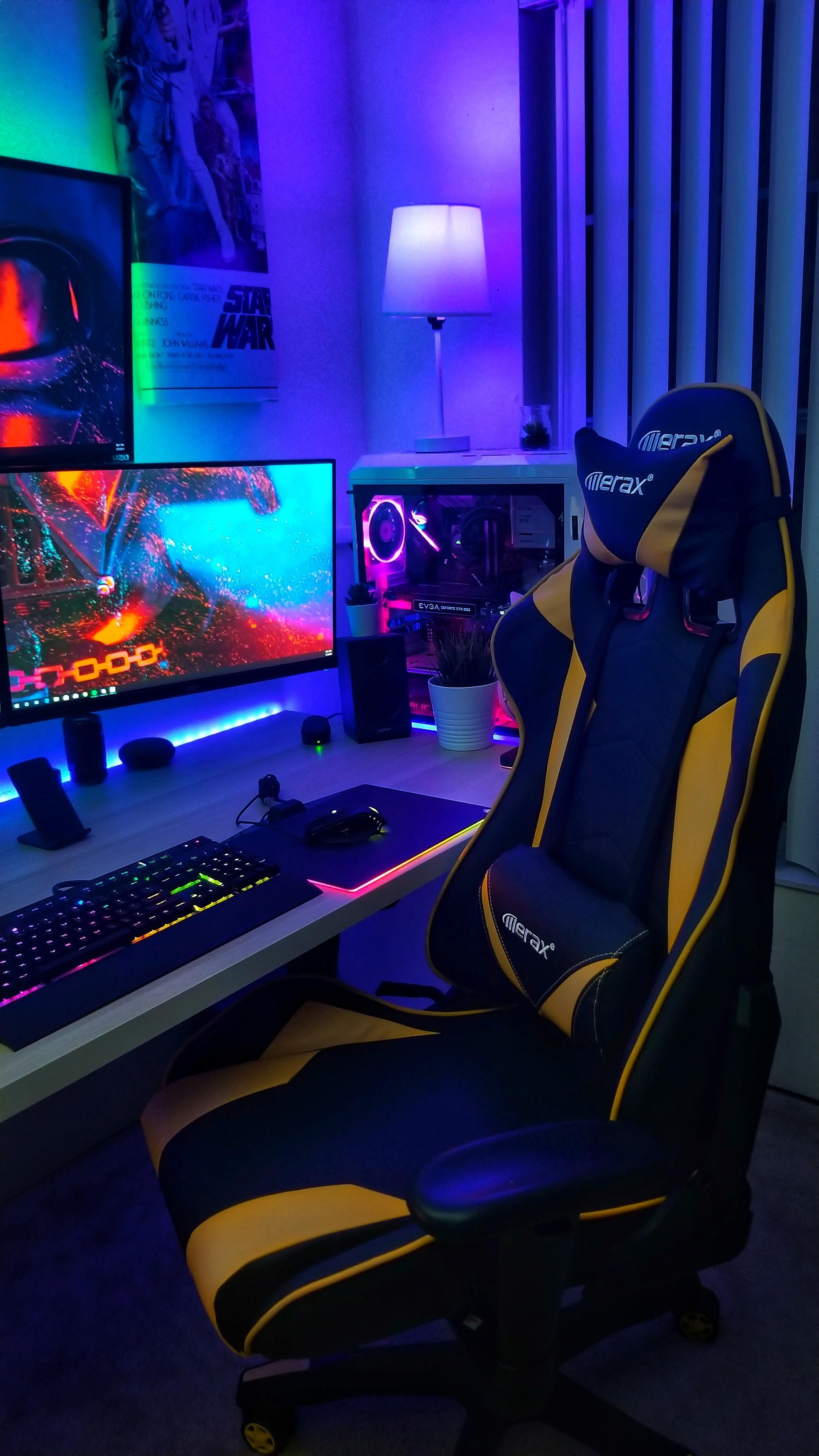 Picked Up A New Gaming Chair For The Setup I Ve Never Had A Chair Like This Before It S A Nice Change Gaming Room Setup Computer Gaming Room Game Room Design