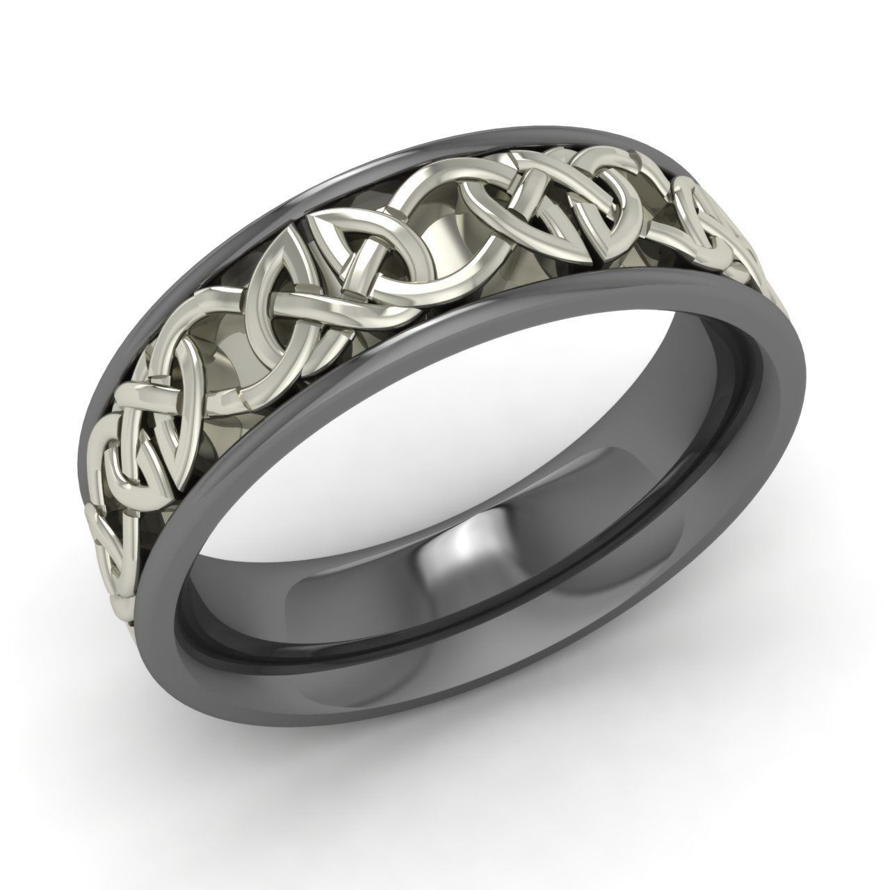 6mm 18k black gold celtic design ring mens jewelry