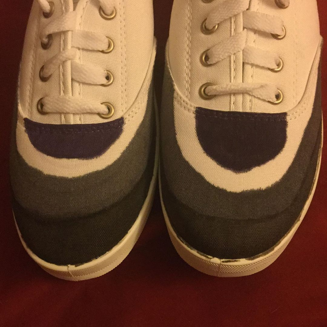 Asexual flag shoes, I'm not quite done with them because I have to touch them up but surprise I'm asexual . . . . . . . . . . #asexual #asexuality #asexualpride #acepride #ace #shoes #fabric #marker #custom #customshoes #mine #myart #art #artist #artistic #lgbt #lgbtq #queer #love #asexualitypride #me #pic #picture