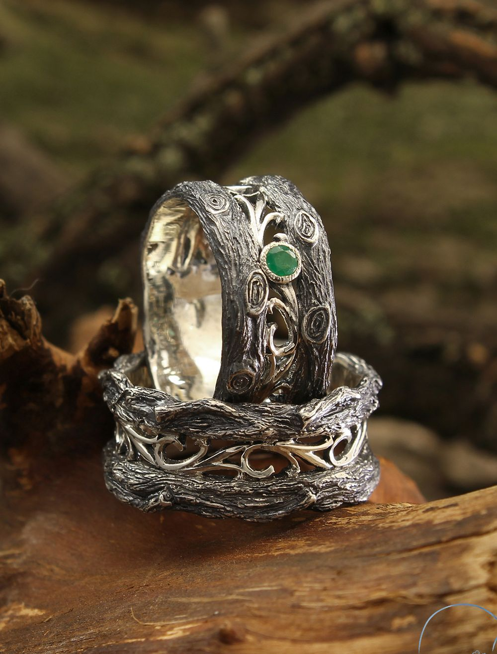Vintage style tree wedding bands set with emeralds, His