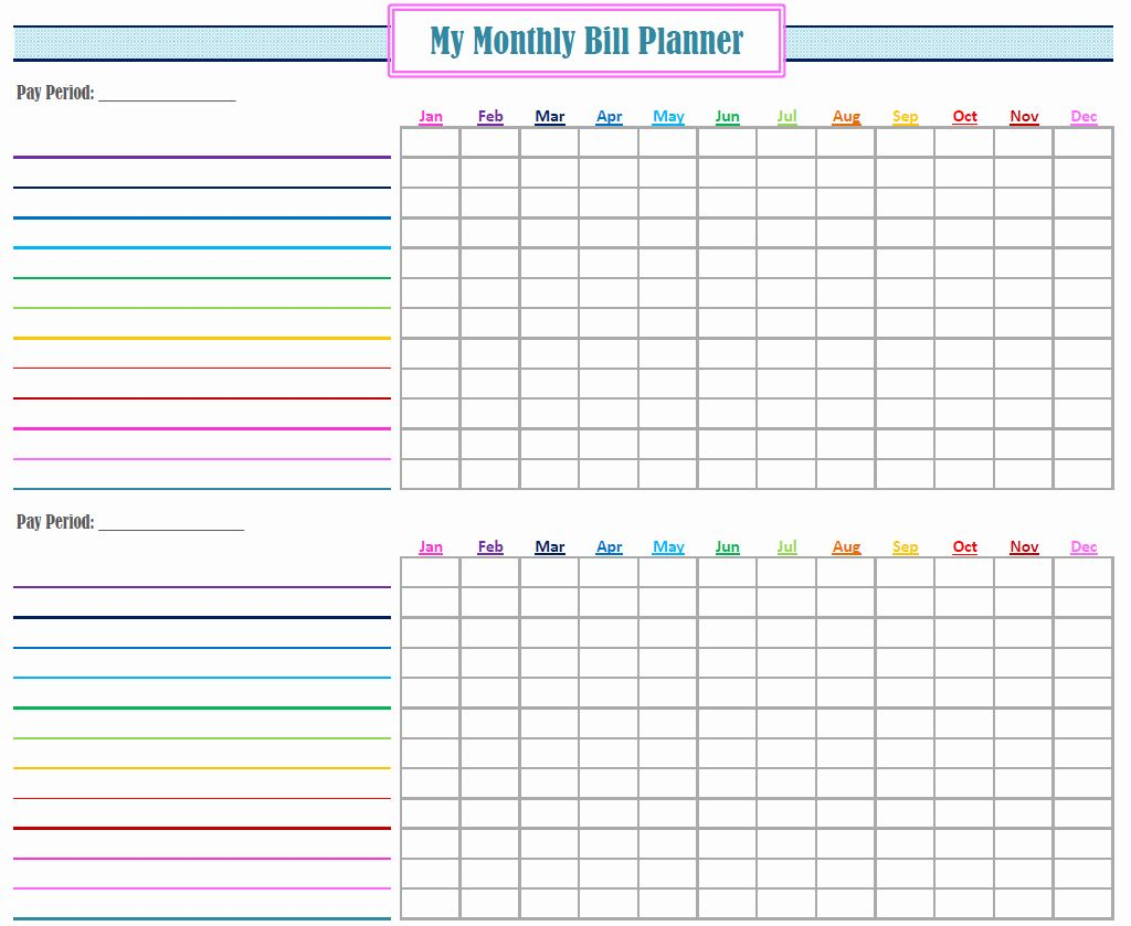 Bill Organizer Spreadsheet Beautiful Monthly Bill