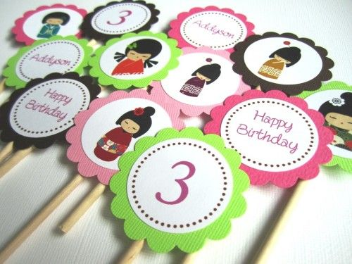 Cute Girls in Japanese Kimono dresses Cupcake Toppers, personalized them as you please, perfect for birthday or baby shower, or any Japanese or Kimono themed events. You will get 12 Personalized Kokes