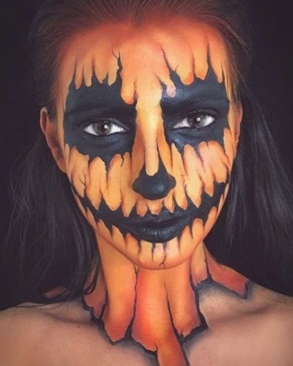 77 Easy Halloween Face Painting Ideas For Adults Style Gesture In 2020 Easy Halloween Face Painting Face Painting Halloween Halloween Pumpkin Makeup