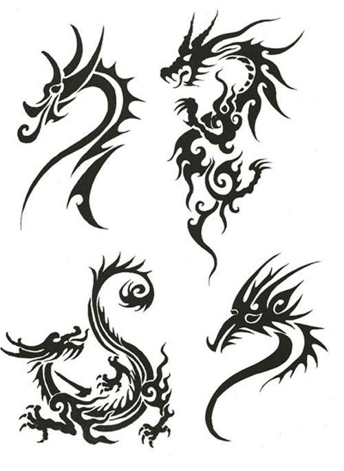 twin dragon tribal tattoo design