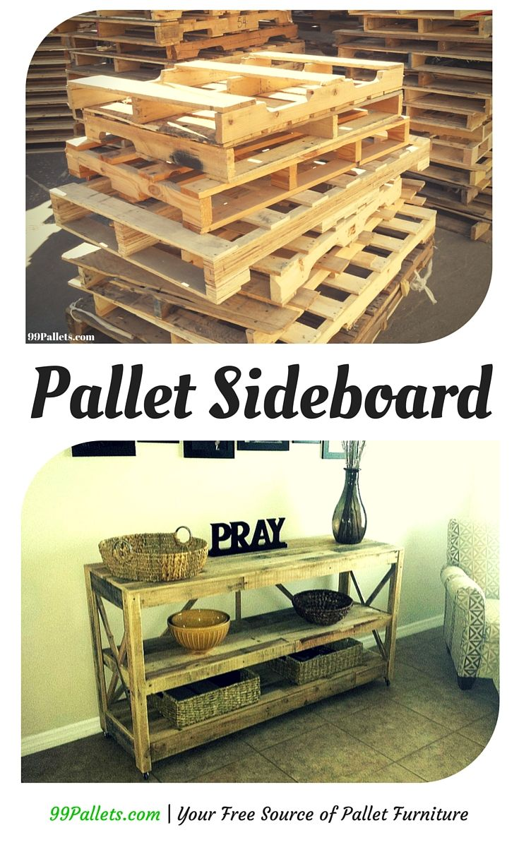 Diy pallet sofa with table 99 pallets - Pallet Sideboard 99 Pallets