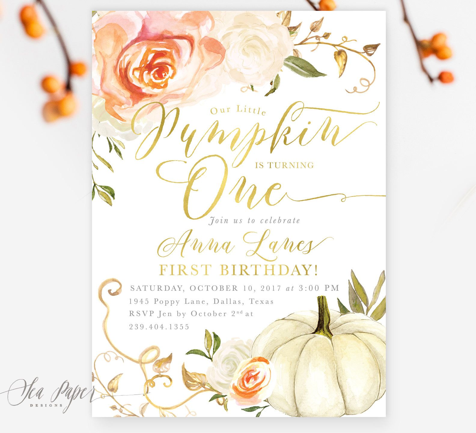 Fall Birthday Invitation Our Little Pumpkin is Turning e First