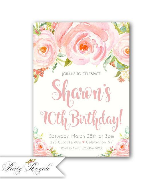 70th birthday invitation 60th birthday invitation 50th Birthday
