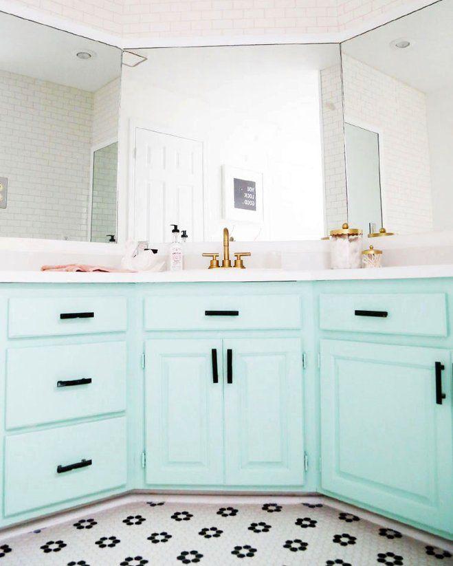 a 90s bathroom gets a minty fresh update wayfair on home inspirations this year the perfect dream bathrooms diy bathroom ideas id=62888