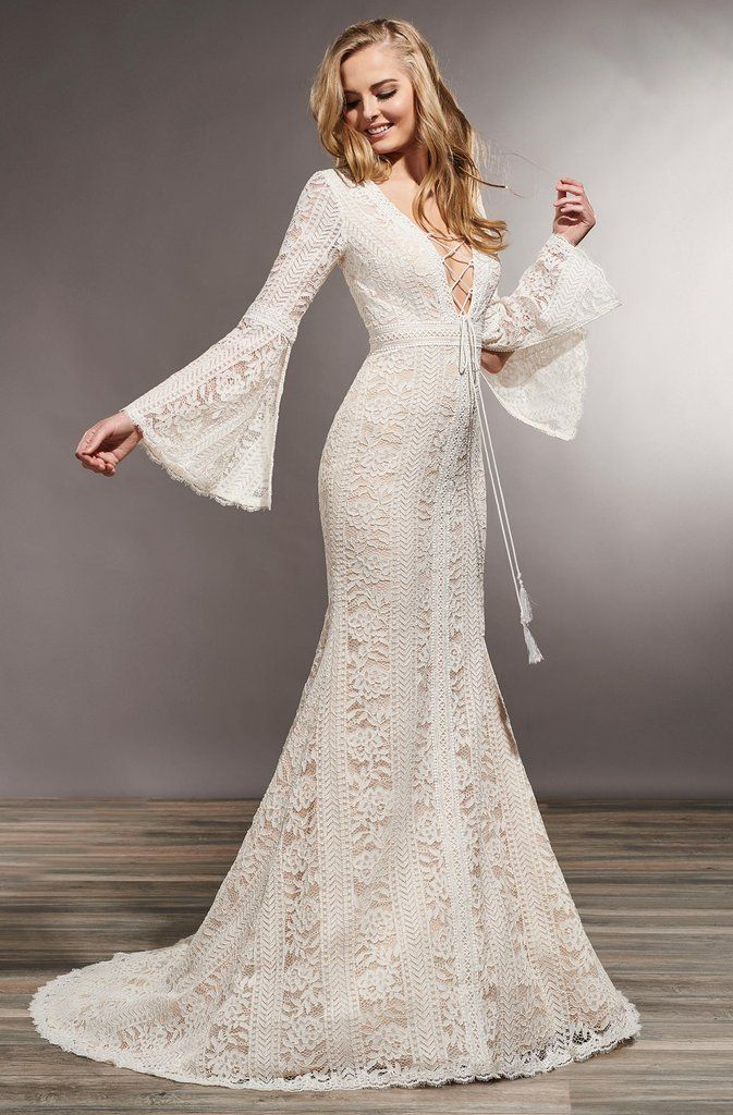 Photo of Mary's Bridal – MB5014 Lace Deep V-Neck Trumpet Dress