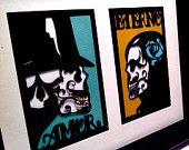 Dia de los Muertos Sugar Skull Day of the Dead Framed Paper Cut  $35.00, via Etsy.