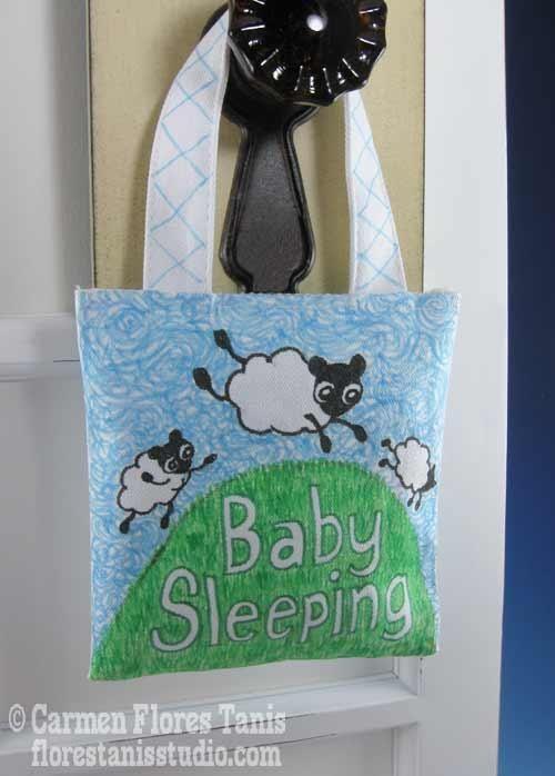 DIY Little Sheepies Baby Sleeping Door Hanger Tutorial
