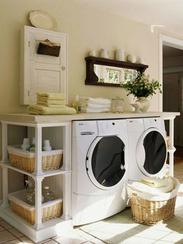 Build Your Own Laundry Station- Like the walls and the basket shelves hear.  Would put the counter top over my lr sink with wall hinge so it will raise up when I need the sink.