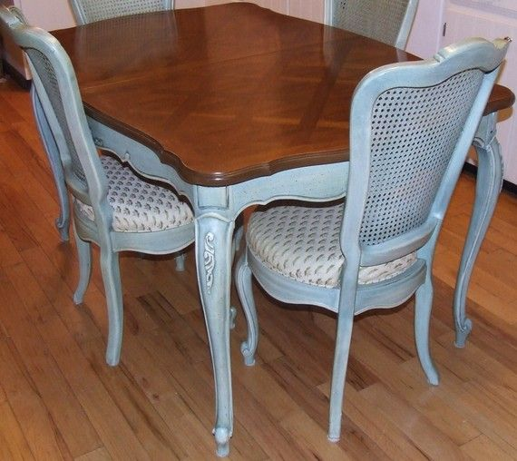 Vintage Thomasville French Blue DINING TABLE   2 Leaves Part 55