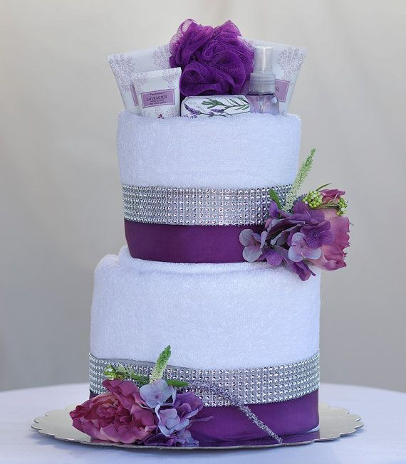 """Bridal Gift From Mother: The """"SWEET LAVENDER"""" Towel Cake. Perfect For Mother's Day"""
