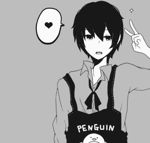 Black And White Penguin Anime Boy Wearing Black Apron With