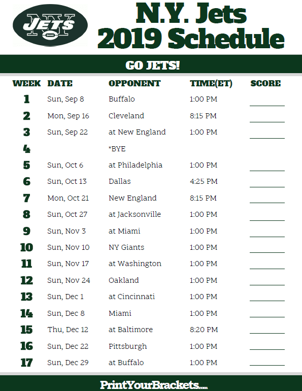 Ny Jets Schedule 2019 Printable N.Y. Jets Schedule   2019 Season | Printable NFL
