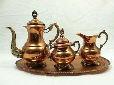 Antique Brass and Copper Tea Pot