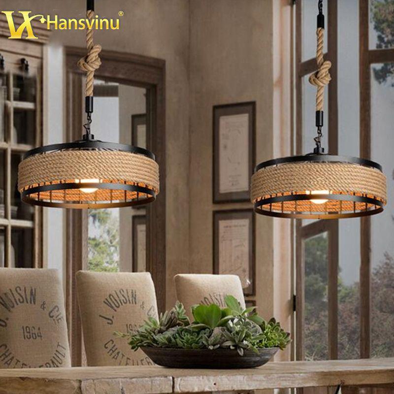 Goedkope Retro Henneptouw Hanglamp Loft Vintage Lamp Voor Restaurant ...