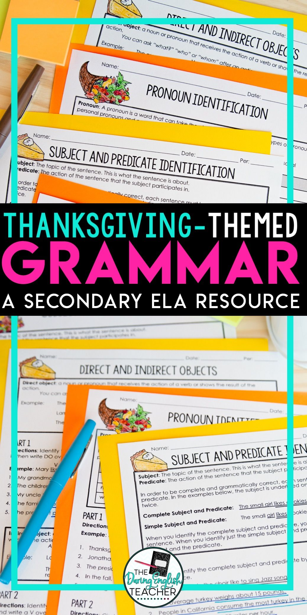 Thanksgiving Grammar Worksheets No Prep Easy Sub Plans