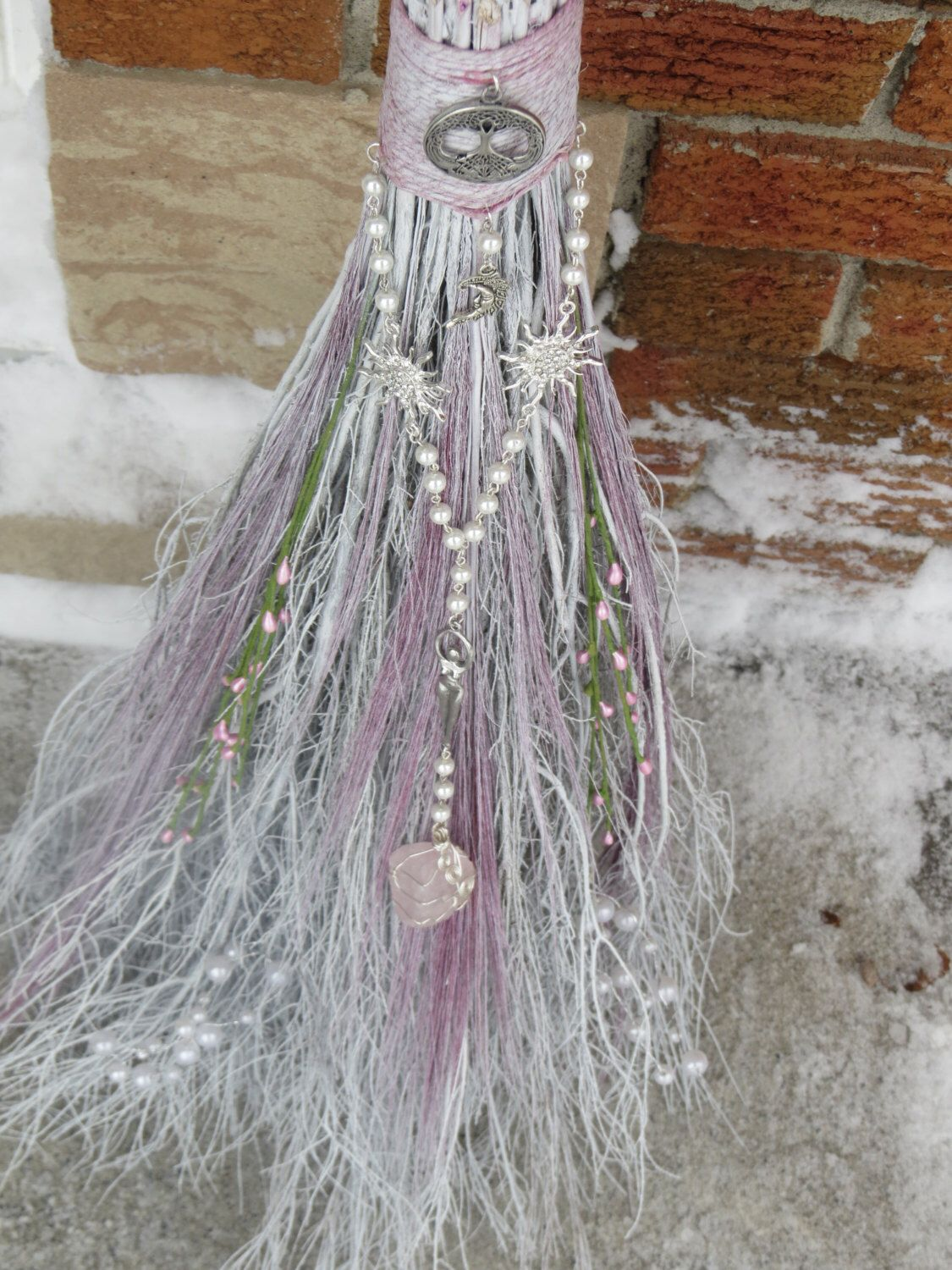 White Handfasting Broom for Pagan Wedding, Wiccan Wedding, Jumping the Broom, Pagan Handfasting ...
