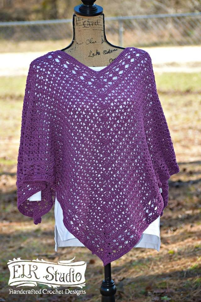 Southern Diamonds Poncho Crochet-Along by ELK Studio | Ponchos ...