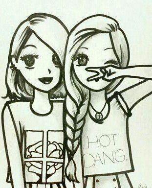 Dibujos de amigas juntas