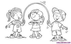 Resultado de imagen para niños jugando en el recreo para colorear