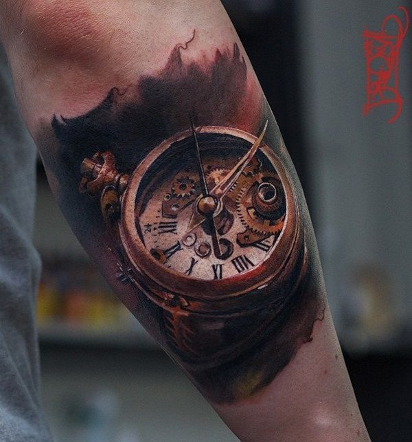 Tattoo Designs Online: 3D Old Pocket Watch Tattoo