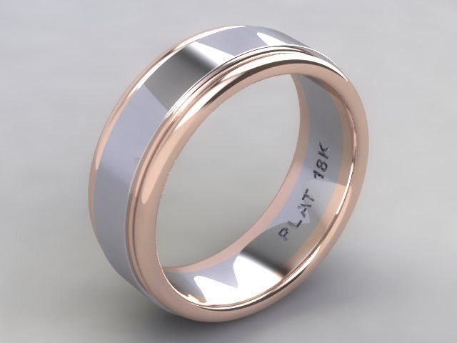 Popular Custom Hand Crafted Two Tone Platinum and k Rose Gold Rail Men us Wedding Band