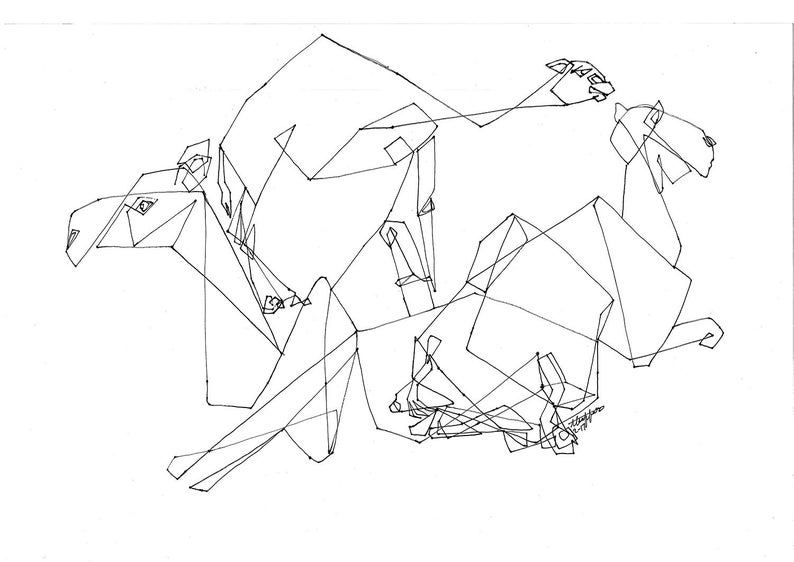 18x24 OriginalCamelsArabian DesertLine DrawingMiddle