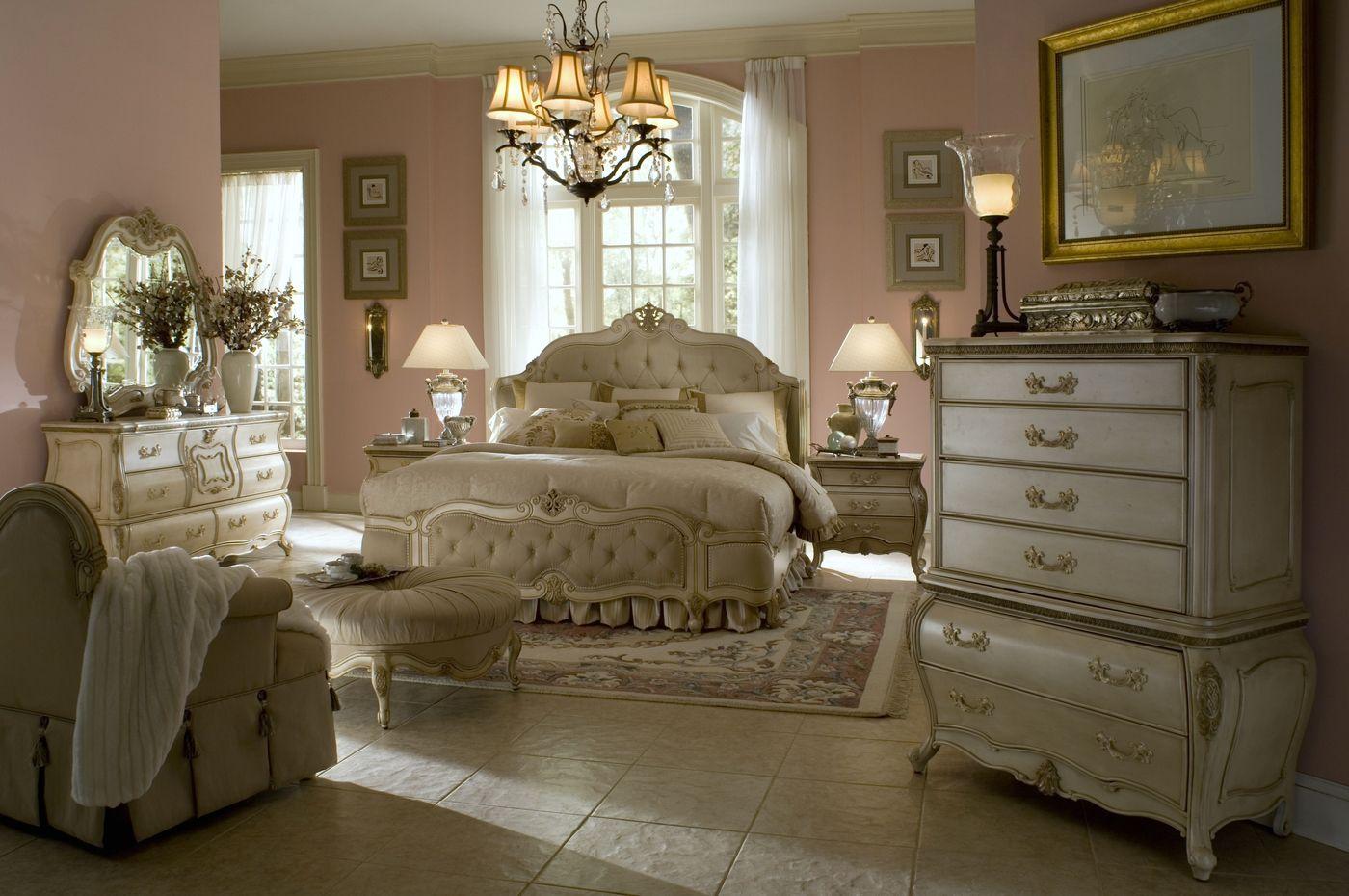 Michael Amini Lavelle Antique White Finish Luxury Bedroom Set by AICO - Michael Amini Lavelle Antique White Finish Luxury Bedroom Set By