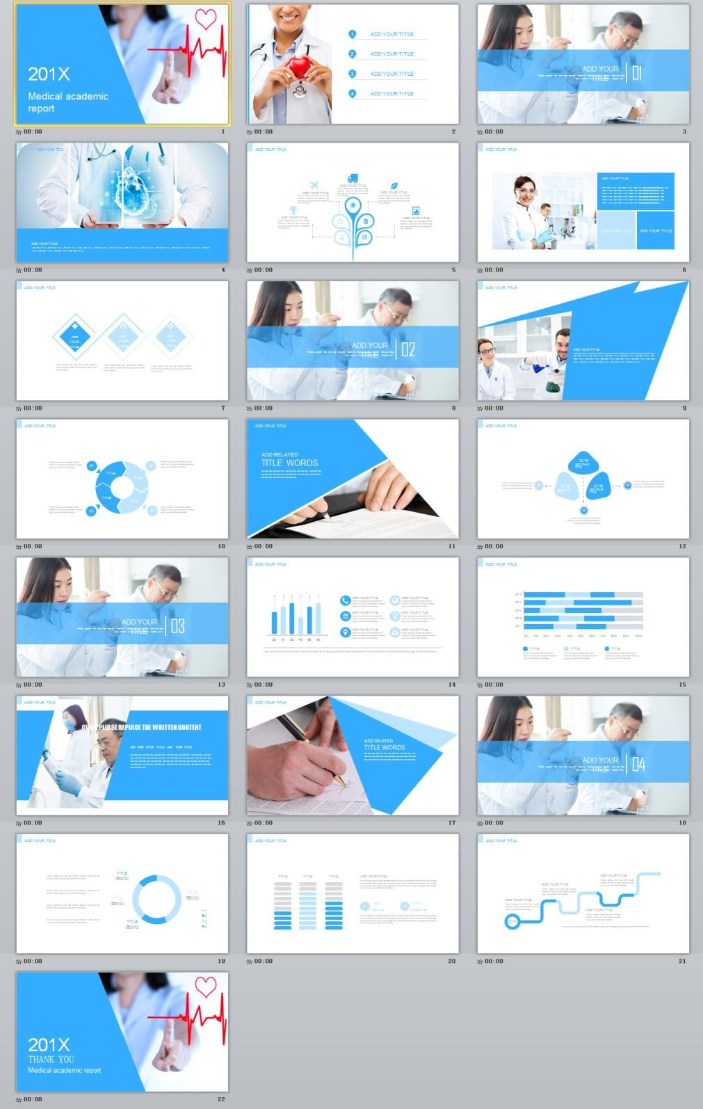 Blue Medical Report Powerpoint Template Powerpoint Design