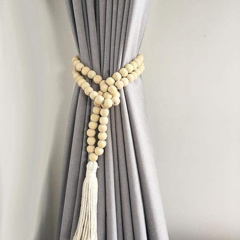 Single Natural Bohemian Bead And Tassel Curtain Tieback Etsy Tassel Curtains Curtain Decor Curtain Tie Backs