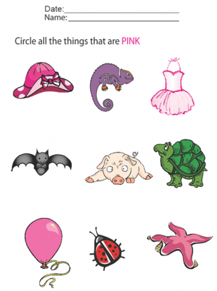 Circle all of the pink objects in this printable kids worksheet ...