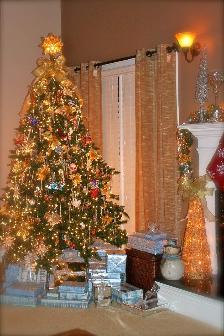 Holiday Time Christmas Tree.Christmas Tree Silver And Gold Trim Holiday Time