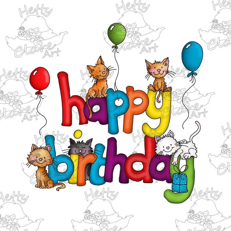 Pre Coloured Stamp Happy Birthday Cats Etsy Happy Birthday Cat Happy Birthday Cards Cat Birthday