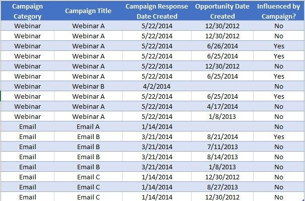Chart Sample report in Netsuite Did a campaign influence a sale - sample report