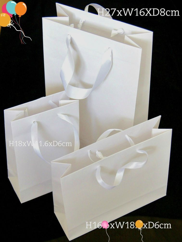 Details About 10 Luxury White Paper Gift Party Bags Satin