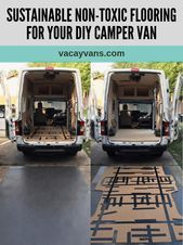 Photo of diy camper van build conversion flooring nontoxic sustainable linoleum marmoleum…