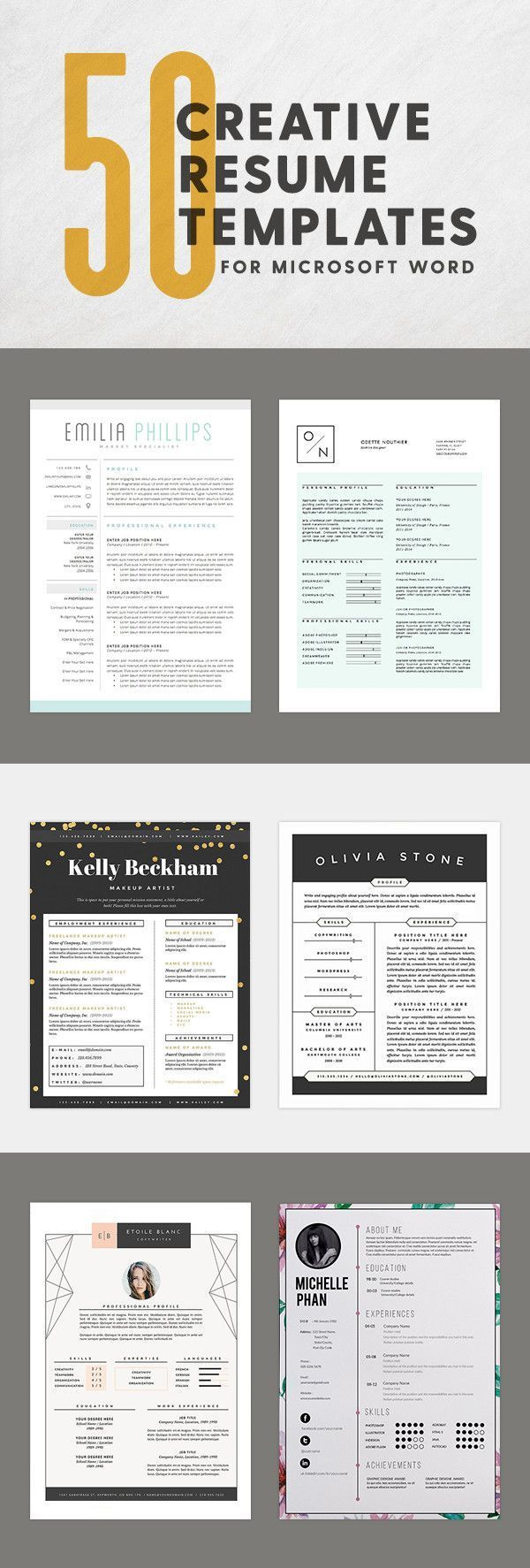 50 innovative  artistic microsoft word resume templates that can be customized with a variety of