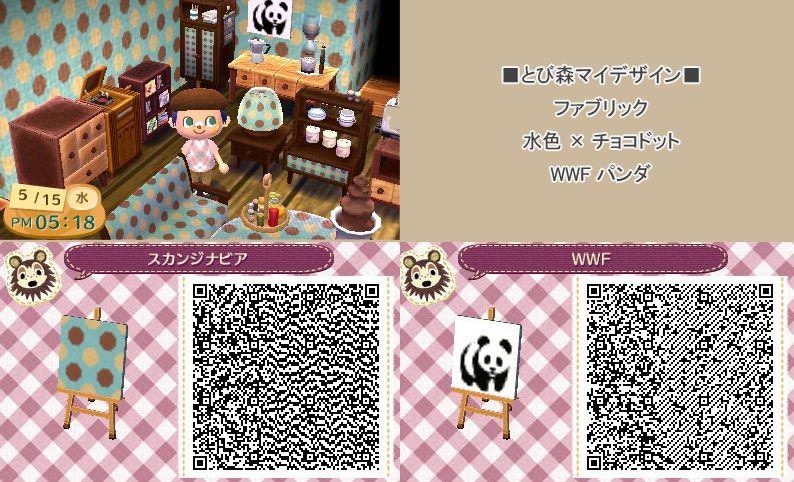 Blue dotted wallpaper and Panda painting Animal crossing