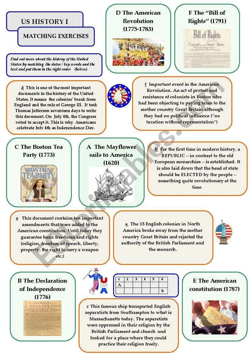 Us History I Matching Exercise Esl Worksheet By Elderberrywine Us History Reading Worksheets History